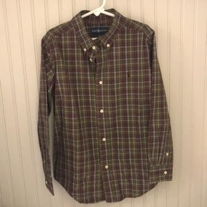 Boys long sleeve, plaid, button down shirt